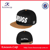 Custom Black 3D Embrodiery Suede Brim Snapback Hat With Leather Strap Cheap Snapback Cap Wholesale Snapback