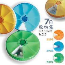 Portable circular rotation 7 grid storage box of pills Color randomization