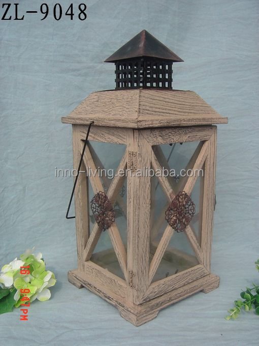 white wooden lantern with metal top 2