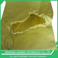 yellow pp woven drawstring sack for cloth packing