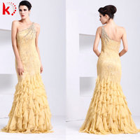 New style simple fashion yellow agaric korean prom dresses chiffon made to measure prom dresses china