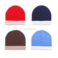 100 carylic thick knitted plain snow logo knitted beanie