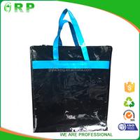 Unique design black simple design pp woven tote zipper stroage bag