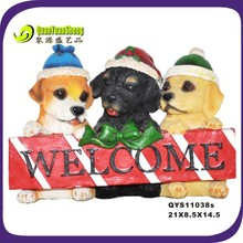 2014cute christmas resin dog/resin animal decoration