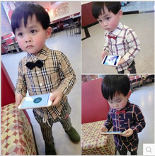Kids boys spring new classic plaid long-sleeved shirt tie handsome thin section