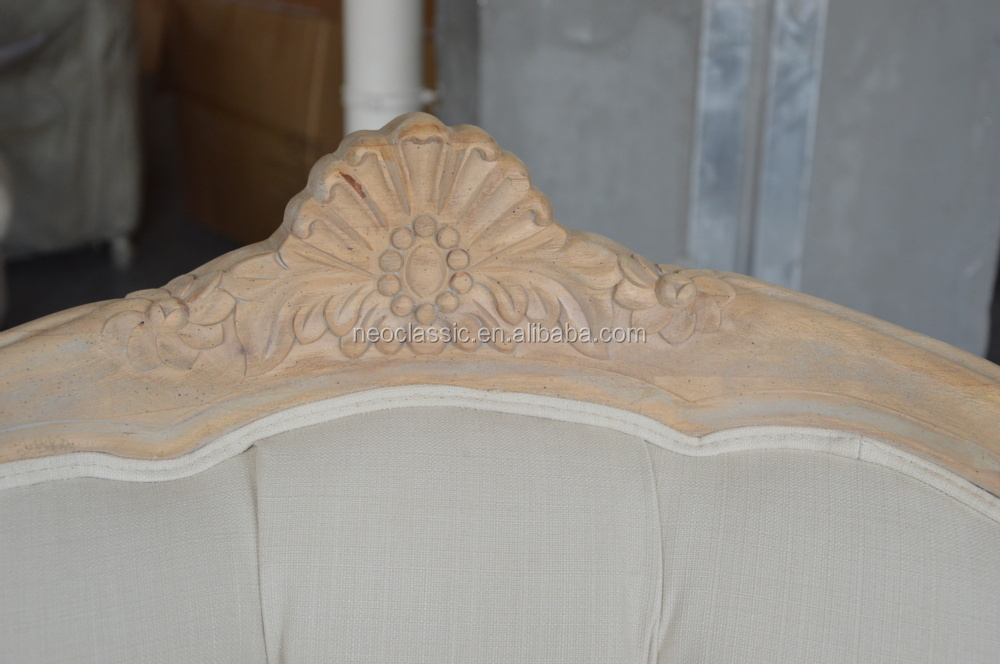 Franse houten woonkamer stof zitgroep/Antieke houten getuft stof ...