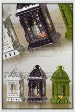 Indoor retro painted ornaments metal candlestick, moroccan lantern