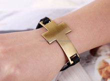 Wholesale sideways cross leather bracelet for girls small wrists, latest design punk rock style leather bracelet with gold cross