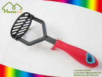Best selling self-stand handle colorful stainless steel silicone nylon cooking kitchen utensils plastic meat fruit potato masher