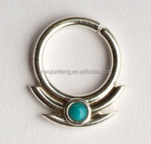 2mm Turquoise stone and 2 lines sharp edges Septum Piercing