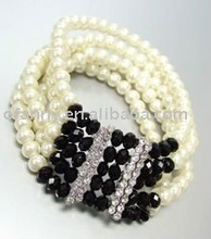 Top Fashion Pearl and Facet Beaded With alloy Bracelet