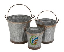 Shabby Chic Galvanized Metal Garden flowers Bucket