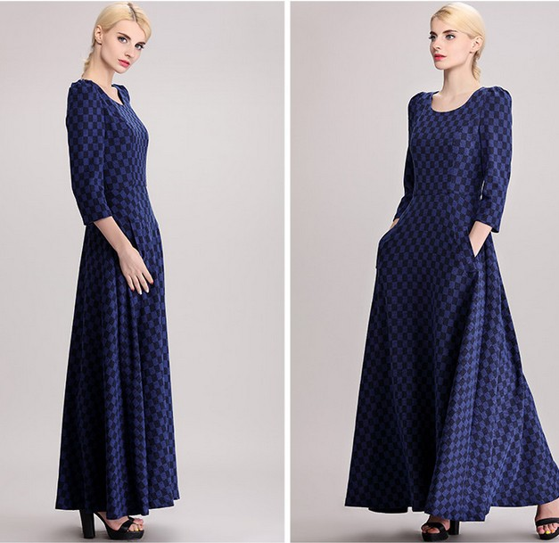 Three Quarter Sleeve Maxi Dress Three Quarter Sleeve Blue