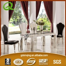 TH377 XINQING modern white marble dining table and chairs