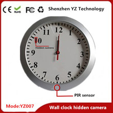 Round wall clock with smallest hidden cameras long recording sd card storage
