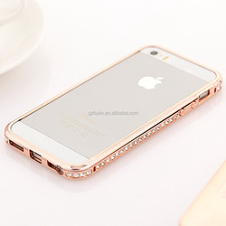 Luxury High-duty metal diamond-encrusted bumper case for iphone 5 case,same for asus zenfone 5 aluminum metal bumper case
