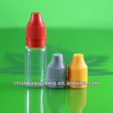 clear vapor juice 10ml pet plastic dropper bottles with childproof cap long tip