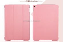 HOT!!! PINK Folio leather case for ipad 6, smart leather case for ipad air 2 HH-IP602-9