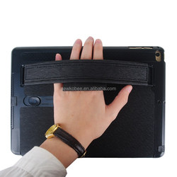 luxury PU Leather Case For ipad Air2 New smart case with hand strap hand holder with louder speaker