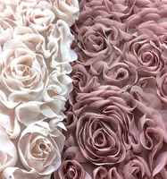 2014 Newest design Polyester bottom rose chiffon fabric
