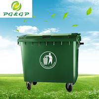 Plastic garbage bin with wheels