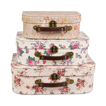 Set of 3 Retro Look Vintage Rose Suitcases Storage Boxes