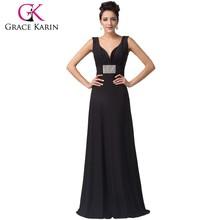 2015 Newest Sexy Design of Black Long Mother of The Bride Dresses Deep V-neck Crystal Sleeveless Floor Length Dresses CL6159