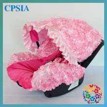 Pink Rosette Baby Car Seat Cover 3D Rosette Infant Car Seat Cover Satin Rose Fluffy Cushion Booster Seat