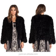 Women winter garment High quality Genuine dip dyed Kalgan Lamb Fur Coat