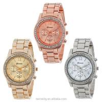 2015 Dongguan factory diamond chinese wholesale geneva watches, watch geneva, quartz stainless steel watch water resistant
