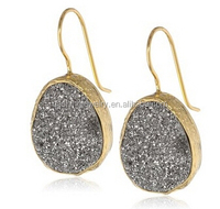 2015 fashion Silver Circle Drop Earring single zircon stone stone earring designs