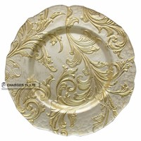 DAYA 2015 wholesale 13inch anique flower pattern white&gold silver color glass charger plate