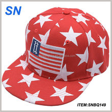 Good quality Red Stars Print Snapback Hat Cap