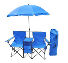 Double folding camping chair with umbrella, garden chair, beach chair.