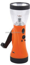 High power 5 LED rechargeable Hand crank lantern with radio function(FM) & USB charger
