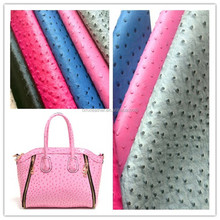 High quality Ostrich grain 100% pu synthetic leather for bags,shoes HX212