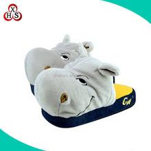 2015 newest kids warm winter plush hippo slippers