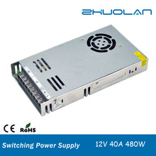 170~250VAC selected by switch DC 12v 40a 480w Single Output Type ultra thin slim led power supply