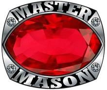 Luxury Design Knight Templar Masonic Mason Red Jet CZ Stone Men Ring