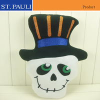 event party supplies white fabric material wearing black hat stuffed halloween skull decor