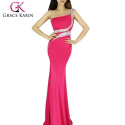 Women's Sexy One Shoulder Side Split Long Evening Gowns CL6062