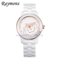 Ceramic imitation epoxy embossed face ladies fashion watch