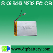DTP rechargeable battery 3.7v 4000 polymer for tablet pc /medical devices