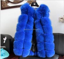 2015 the latest design fur vest, blue fox fur vest/women' clothing