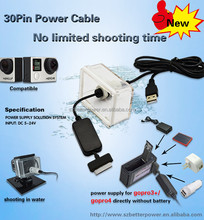 Waterproof 30 pin power adapter Instead for go pro rechargable battery for hero4