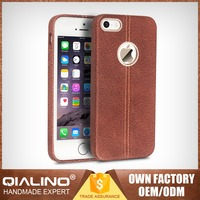 QIALINO High Quality White Diamonds Phone Back Cover Case For Iphone 5 Real Leather Oem Service