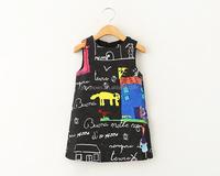 hand drawing black sleeveless girl winter dress, little girls winter formal dresses