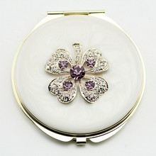 folding magnifying cosmetic mirror, ladies pocket mirror, cosmetic mirror with crystal