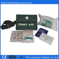 OP hot sale CE ISO FDA approved portable compact travel outdoor car first aid kit bag