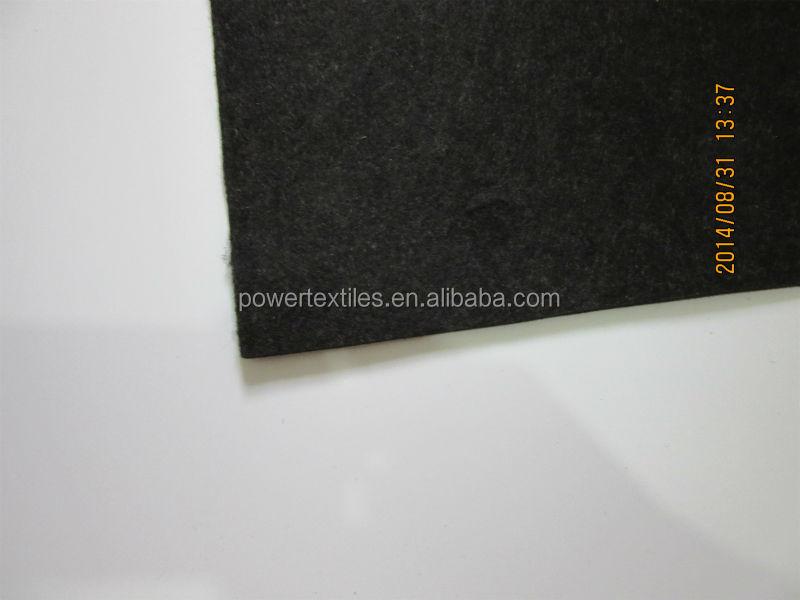 Material de feltro de cor preta, 100% fibra de pp, 817 gsm